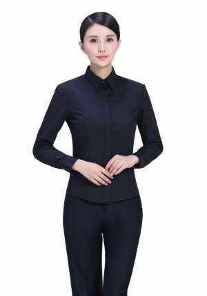 黑色暗扣商务西服长袖衬衫