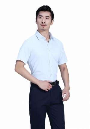 蓝白商务短袖衬衫